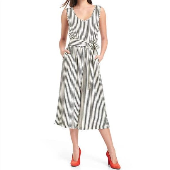 1603e5cce327 GAP Pants - GAP Blue White Stripe Crop Culotte Romper Jumpsuit